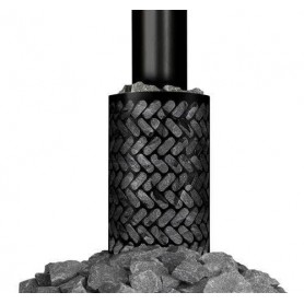 Tilbehør træfyret saunavarmer Stenkurv sort (rundt røgrør)