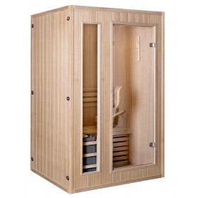 Sauna Traditionel klassisk til 2 personer Traditionel sauna til 2 personer. Størrelse: 1200 x 1100 x 1900 mm Træ: Hem låg