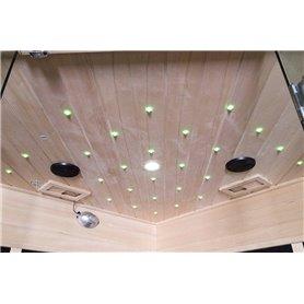 Sauna Infrarød til 3-4 pers. Glanset til 4 personer Infra-sauna til 4 personer Størrelse: 1750 x 1200 x 1900 mm Træ: Hvid laser