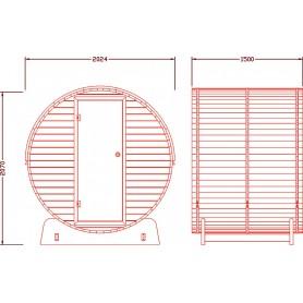 Udendørs sauna Infrarød Saunabar i cedertræ med infrarød varme Infra-sauna tynd til 3 personer Størrelse: 2024 x 1500 x 2070 m