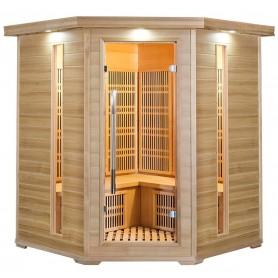 Hjørnesauna Infrarød Apollon Tourmaline Hjørne Hemlock Infrarust-sauna til 4 personer Størrelse: 1500 x 1500 x 1900 mm Træ: Heml
