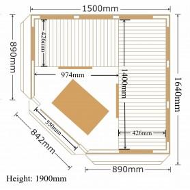 Hjørnesauna Infrarød Apollon Tourmaline Hjørne Ceder Infrasauna til 4 personer Størrelse: 1500 x 1500 x 1900 mmVed: CederWarm