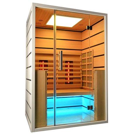 Sauna Infrarød til 2 personer Vælg 2 personer Infrarød Sauna til 2 personer Størrelse: 1300 x 1050 x 1900 mm Træ: Hvid He