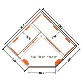 Hjørne Sauna Infrarød Vælg hjørnefra Sauna til 4 personer Størrelse: 1610 x 1610 x 1900 mm Træ: Hvid Hemlock Varmesystem: M