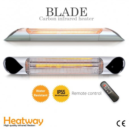 Terrassevarmer Blade Silver 2000W Infrarød varmeapparat