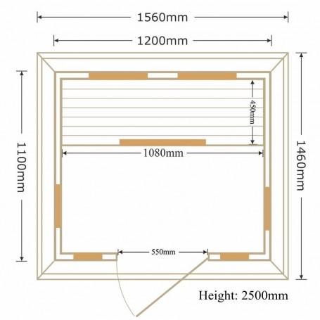 Udendørs sauna Infrarød Eden Grey Wood 2 personer Infra-sauna til 2 personer Størrelse: 1200 x 1100 x 2500 mmVed: Hemlock