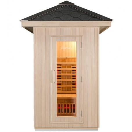 Fremragende udendørs sauna i ubehandlet træ til 2 personer