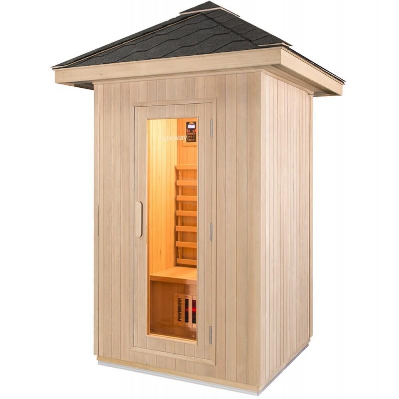 Udendørs sauna i træ med gråt tagsten