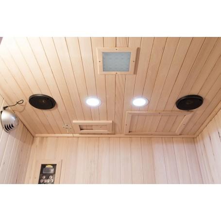Udstyret med farveterapi, Bluetooth-musikanlæg, læselamper og luftrenser med ionisering og ozonfunktion.
