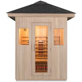 Luftig infrarød sauna med hærdet glasdør i ramme samt to vinduer til en let sauna med flot udsigt.