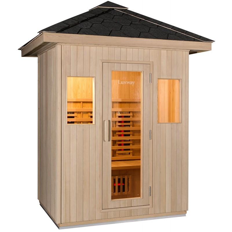 Udendørs sauna til 3 personer i robust canadisk Hemlock, isoleret med perleuld.