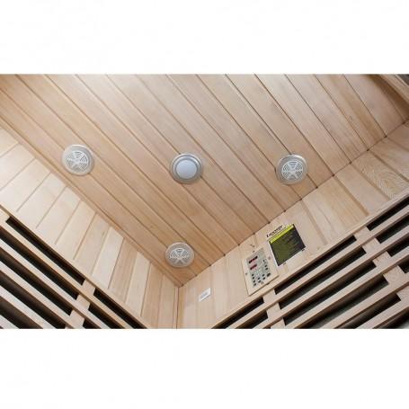 Hjørne Sauna Infrarød wellness Hjørne Hemlock Infra Sauna til 4 personer Størrelse: 1550 x 1550 x 1980 mm Træ: HemlockVärmesys